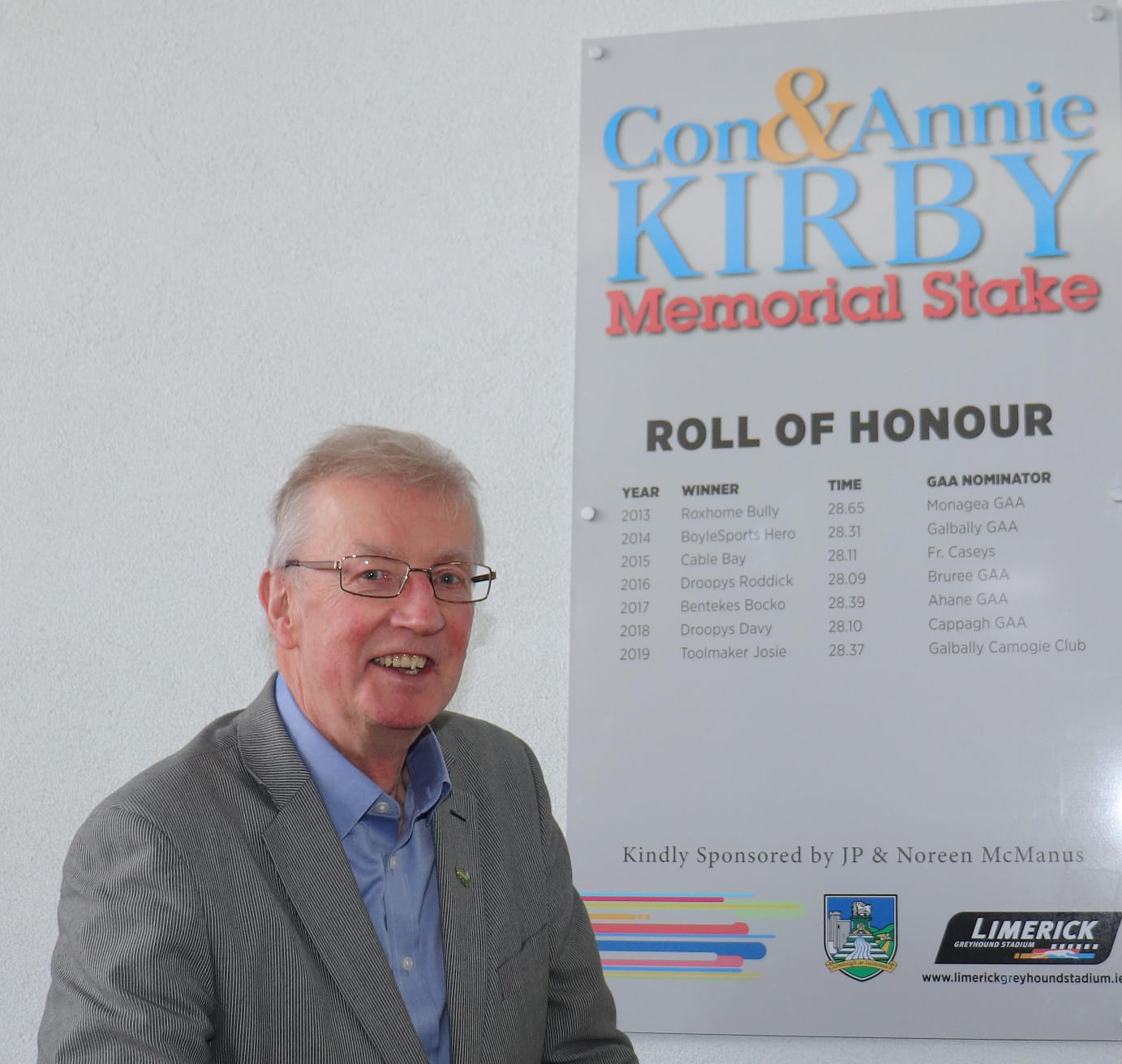 Picture shows: Noel Earlie (representing Noreen & JP McManus) , checking out the Roll of Honour of previous winning greyhounds, trainers & Limerick GAA Clubs.
